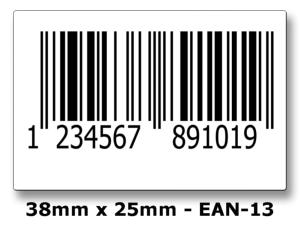 EAN-13 Printed Barcode Labels - 1000 Roll.