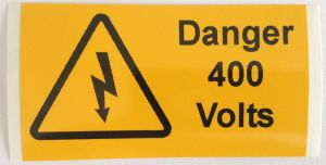 Danger 400 Volts Electrical Safety Warning Labels - 76 x 38mm
