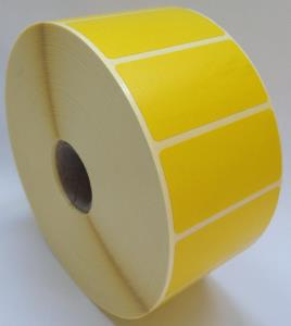 50 x 25mm Yellow Thermal Transfer Labels, Permanent Adhesive. 4 Rolls of 6,000 - 24,000 Labels.