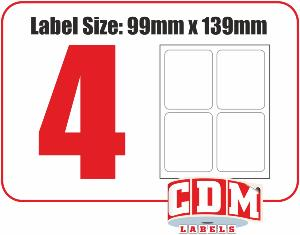 A4 Laser Labels - 4 Per Page - 99.1 x 139mm