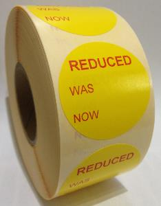 REDUCED WAS / NOW Labels - 40mm dia.