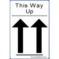 This Way Up Labels - 100 x 150mm - Permanent adhesive. 250 Labels per roll.