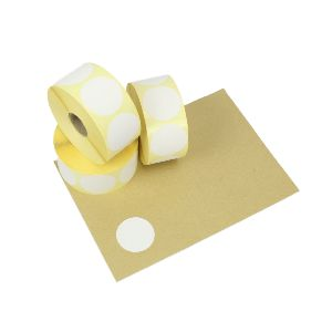40mm Diameter White Direct Thermal Labels, Permanent Adhesive