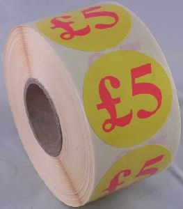 £5 Labels - 40mm dia.