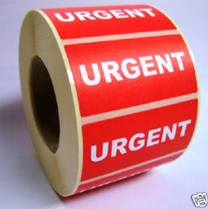 Urgent Labels - 50 x 25mm