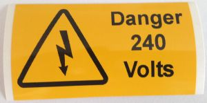 Danger 240 Volts Electrical Safety Warning Labels - 76 x 38mm