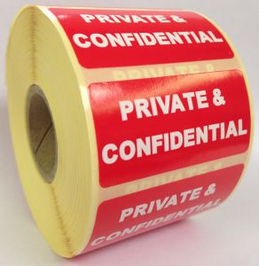 Private & Confidential Labels - 50 x 25mm