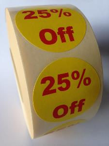 25% Off Promotional Labels - 40mm diameter