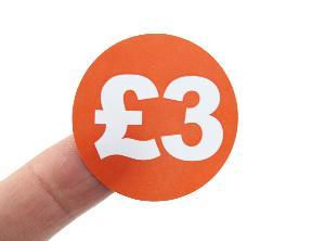 £3 Price Labels / Stickers - 40mm diameter - Red & White. 1,000 labels per roll.