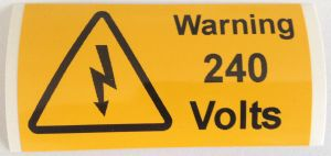 Warning 240 Volts Electrical Safety Warning Labels - 76 x 38mm