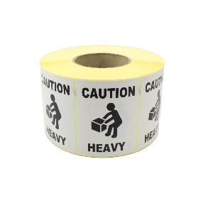Caution Heavy Labels / Stickers. 100mm x 75mm, Permanent Adhesive. Black & White.