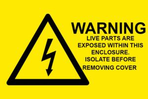 Warning Live Parts Are Exposed Electrical Safety Warning Labels - 76 x 51mm