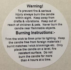 500 White 49mm dia Candle Warning Labels