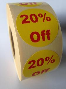 20% Off Promotional Labels - 40mm diameter