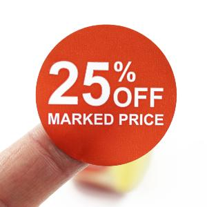 25% Off Promotional Labels - 40mm diameter - Red & White. 1,000 labels per roll.
