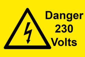 Danger 230 Volts Electrical Safety Warning Labels - 76 x 51mm