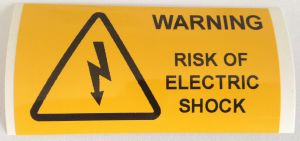 Warning Risk Of Electric Shock Electrical Safety Warning Labels - 76 x 38mm