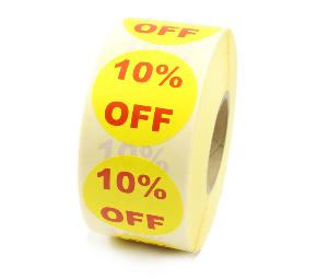 10% Off Promotional Labels - 40mm diameter