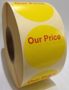 OUR PRICE Labels - 40mm dia.