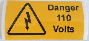 Danger 110 Volts Electrical Safety Warning Labels - 76 x 38mm