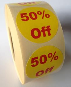 50% Off Promotional Labels - 40mm diameter