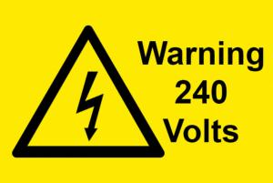 Warning 240 Volts Electrical Safety Warning Labels - 76 x 51mm