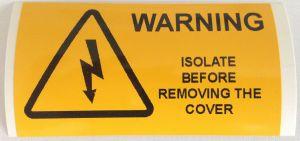 Warning Isolate Before Removing The Cover Electrical Safety Warning Labels - 76 x 38mm