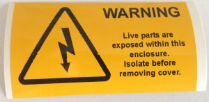 Warning Live Parts Are Exposed Electrical Safety Warning Labels - 76 x 38mm