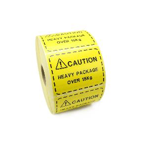 Caution Heavy Package Labels / Stickers. 100mm x 75mm. Yellow Labels / Black print.