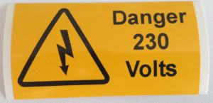 Danger 230 Volts Electrical Safety Warning Labels - 76 x 38mm