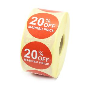 20% Off Promotional Labels - 40mm diameter - Red & White. 1,000 labels per roll.