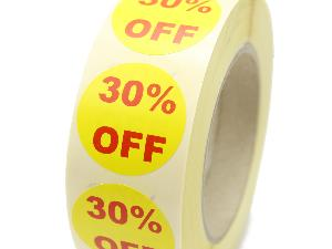 30% Off Promotional Labels - 40mm diameter