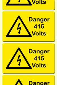 Danger 415 Volts Electrical Safety Warning Labels - 76 x 51mm