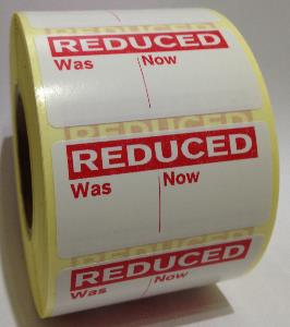 REDUCED - WAS / NOW PRICE Labels - 50 x 25mm