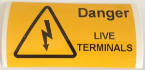 Danger Live Terminals Electrical Safety Warning Labels - 76 x 38mm