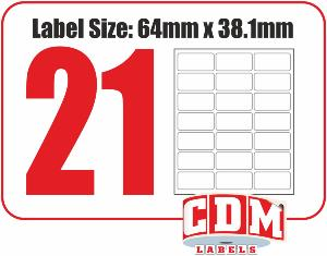 A4 Laser Labels - 21 Per Page - 63.5 x 38.1mm