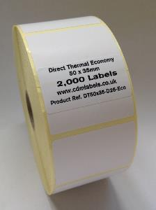 50 x 35mm Direct Thermal Labels - Economy