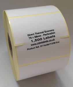 76 x 38mm Direct Thermal Labels With Perforation - Economy