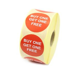 """Buy one get one free"" Promotional Labels / Stickers 40mm Diameter - 1000 Roll"