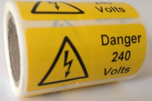 Danger 240 Volts Electrical Warning Labels - 50 x 25mm