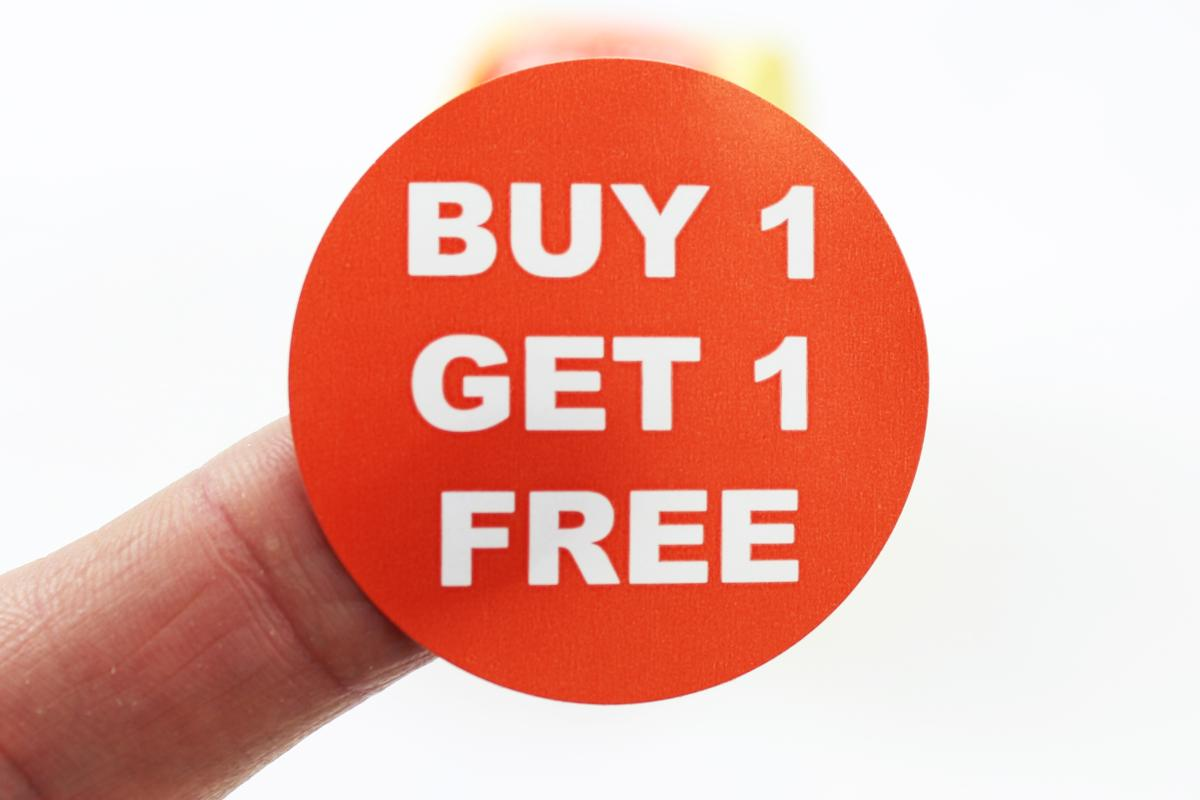Buy 1 get 1 free labels red white