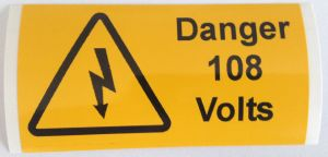 Danger 108 Volts Electrical Safety Warning Labels - 76 x 38mm