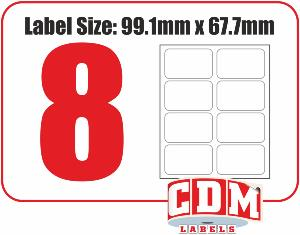 A4 Laser Labels - 8 Per Page - 99.1 x 67.7mm