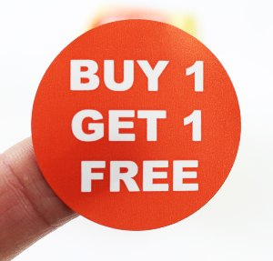 """Buy 1 Get 1 Free"" Promotional Labels / Stickers 40mm Diameter - 1000 Roll"