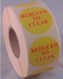 REDUCED TO CLEAR Labels - 40mm dia.
