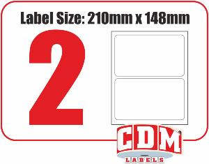 Multipurpose A4 Sheet Labels - 2 Per Page - 210 x 148mm