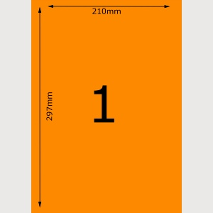 Orange A4 Inkjet Labels - 1 Per Page - 210mm x 297mm - 2,000 Sheets. 4 Boxes of 500 Sheets.
