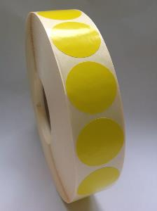 40mm Diameter - Yellow - Thermal Transfer Labels - Semi-Gloss