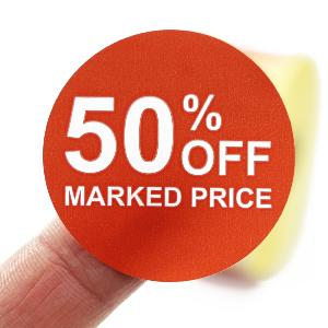 50% Off Promotional Labels - 40mm diameter - Red & White. 1,000 labels per roll.