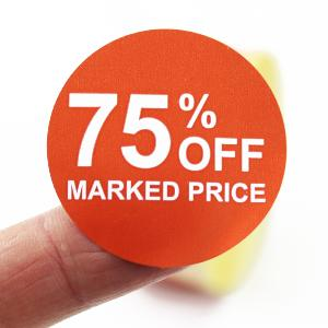 75% Off Promotional Labels - 40mm diameter - Red & White. 1,000 labels per roll.